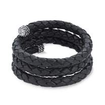 American West Sterling Silver Braided Leather Coil Wrap Bracelet - Choice of Colors