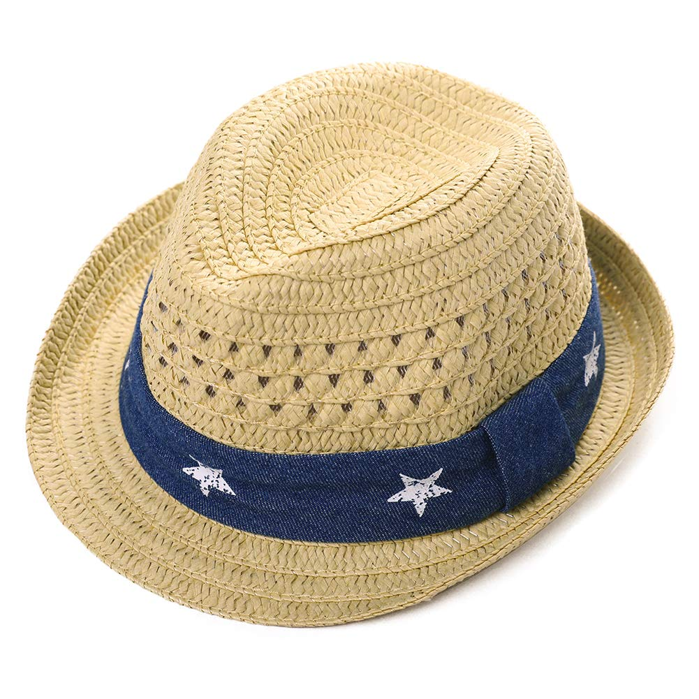 Infants Toddlers Staw Fedora Summer Sun hat UPF Kid Beach Outdoor Panama Trilby