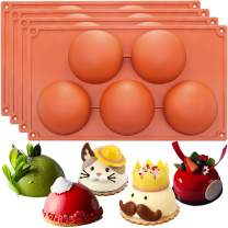 FUNSHOWCASE Extra Large 5-Cavity Semi-Sphere Dome Mousse Cake Silicone Mold 4-Bundle 3inch Cavities