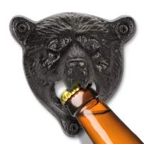 "BLKSMITH Mounted Beer Bottle Opener – Wall Mount Cast Iron Bear, Bulldog, Lion, Skull, Stag, Open Here - Comes with Screws - (Approx Size: Medium - 7""x 4""x 2"" or Large - 9""x 6.5""x 2.5"")(Bear)"