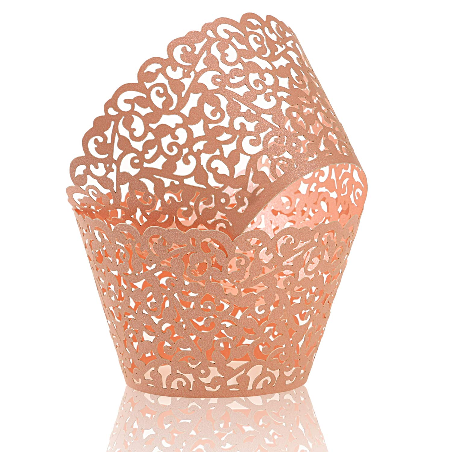 KPOSIYA Pack of 120 Cupcake Wrappers Artistic Bake Cake Paper Cups Vine Designed Laser Cut Cupcake Wraps Baking Cup Muffin Case Trays for Wedding Baby Shower Party Birthday Decoration (120, Pink)