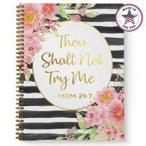 """Softcover Mom Mantra Faux Gold 8.5"""" x 11"""" Spiral Notebook/Journal, 120 College Ruled Pages, Durable Gloss Laminated Cover, Gold Wire-o Spiral. Made in The USA"""