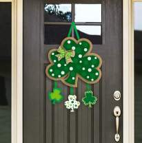 FRIDAY NIGHT St. Patrick's Day Door Sign, Irish Hanging Welcome Board 3-D Carboard Green Shamrock Hanger Home Wall Decor