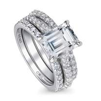 BERRICLE Rhodium Plated Sterling Silver Emerald Cut Cubic Zirconia CZ Solitaire Engagement Wedding Ring Set 3.5 CTW