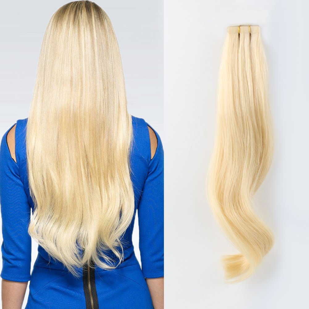 ABH AmazingBeauty Hair Semi-permanent Real Remi Remy Human Tape in colored Hair Extensions 50g 20pcs Skin Weft Tape Attached Invisible Seamless Reusable Beach Blonde Bleach Blonde Color 613 18 Inch