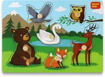 Smart Kids - Wooden Puzzles for Toddlers – Toddler Puzzles Set Forest Animals - Thick Wooden Construction with Big knobs and Hard Box – 6 pcs.