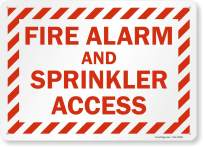 """SmartSign """"Fire Alarm and Sprinkler Access"""" Sign   10"""" x 14"""" Plastic"""