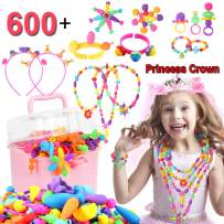 Pop Beads, Kids Crafts, 600+ DIY Jewelry Making Kit, Snap Pop beads for girls to Make Hairband, Necklaces, Bracelets, Creative Toddler Girl Toys, Top Birthday Gifts for 3 4 5 6 7 8 9 10 Year Old Girls