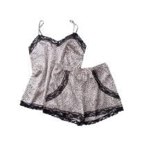 Women's Sexy Lingerie Satin Pajama Cami Set Silky Lace Nightwear Short Sleepwear