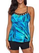 EVALESS Women's Two Piece Printed Tie Side Tankini Tops Skirted Bottom Swimsuit Set(S-XXXL)