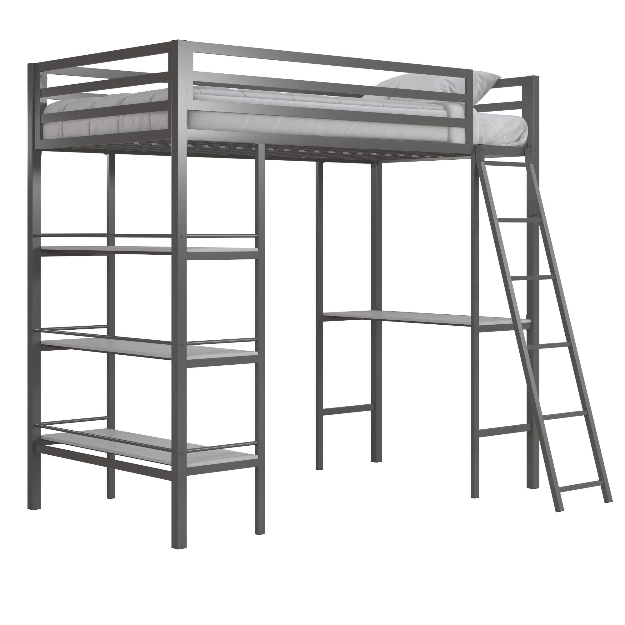 Little Seeds Nova Metal Bed w/Shelves,Twin Bunk, Gunmetal Gray Loft,