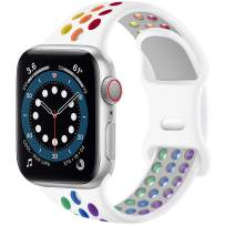 SVISVIPA Sport Bands Compatible for Apple Watch Bands 38mm 40mm,Breathable Soft Silicone Sport Women Men Replacement Strap Compatible with iWatch Series SE/6/5/4/3/2/1,White Rainbow
