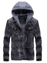 PASOK Men's Denim Hooded Jacket Casual Slim Fit Button Down Distressed Jeans Coats Outwear