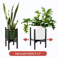 Home Euphoria Natural Bamboo Adjustable Plant Stand. Mid Century Flower Pot Holder and Display. Fits Planters and pots up to 10 Inches (Plant and Pots NOT Included) (Black Bamboo)