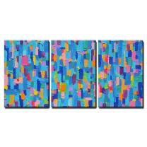 """wall26-3 Piece Canvas Wall Art - Background and Colorful Image of an Original Abstract Painting on Canvas - Modern Home Decor Stretched and Framed Ready to Hang - 16""""x24""""x3 Panels"""