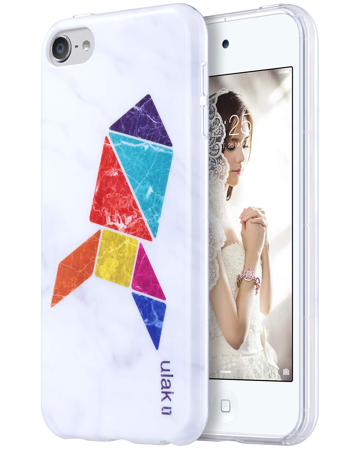 ULAK iPod Touch 7 Case, iPod Touch 6 Case, Slim Fit Anti-Scratch Flexible Soft TPU Bumper PC Back Hybrid Protective Case for iPod Touch 5 5th / 6th / 7th Generation, Marble+Tangram Fox
