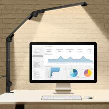 Led Desk Lamp, [Dual Light Source] EppieBasic12W Swing Arm Desk Lights with Clamp for Home Office, Stepless Dimming & Adjustable Color Temperature Modern Architect Lamp for Study, Reading
