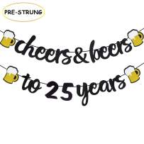 Joymee 25th Birthday Decorations Cheers and Beers to 25 Years Banner Black Glitter Happy Birthday Wedding Anniversary Party Supplies