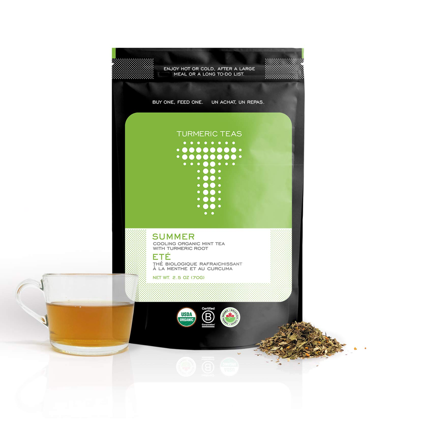 Turmeric Teas SUMMER - Herbal Tea Made With Organic Turmeric, Peppermint, and Fennel, 50-70 Servings (3.5oz) of Loose Leaf Tea, Enjoy Caffeine-Free Tisane that Helps Digestion, Non-GMO