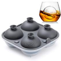 Samuelworld Large Sphere Ice Tray Mold Whiskey Big Ice Maker 2.5 Inch Ice Ball for Cocktail and Scotch (Grey)