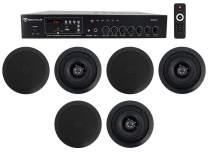 "Home Audio Receiver+(6) 5.25"" Black Ceiling Speakers For Bedroom/Living Room"