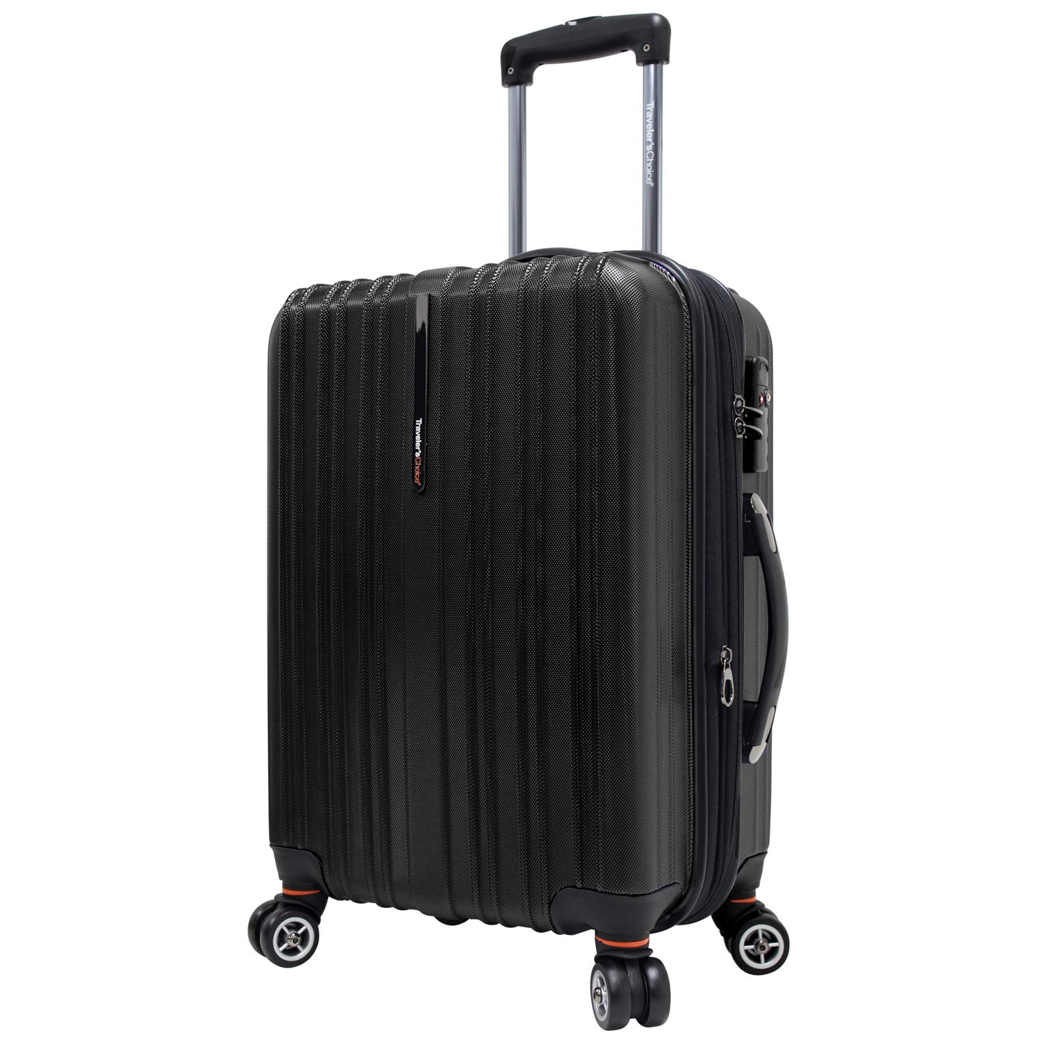 Traveler's Choice Tasmania 100% Pure Polycarbonate Expandable Spinner Luggage, Black