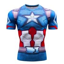 RONGANDHE Men's Super-Hero Compression Sports Fitness America Teamleader T-Shirt Quick-Drying