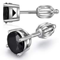 ZDaoBen Sparkling CZ Diamond Stud Earrings 925 Sterling Silver Cubic Zirconia Round Princess Cut Stud Earrings with Secure Screw Backs Nickel-Free Hypoallergenic Studs Earrings for Women/Men