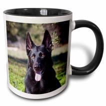 3dRose Portrait Of A German Shepherd Dog Mug, 11 oz, Black