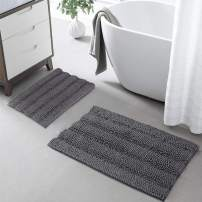 KGORGE Bath Mats for Bathroom - Non-Slip Absorbent Shaggy Rug Super Soft Microfiber Chenille Machine Washable for Shower Room Kitchen Entryway, Gray, 20 x 32 + 17 x 24, 2 Pieces