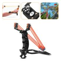 ucho Professional Slingshot Set, Y Shot Slingshot, Wrist Rocket Slingshot with 2 High Velocity Catapult 3-Band Rubber Band (100 Ammo) Powerful Accurate Shooting for Outdoor Hunting