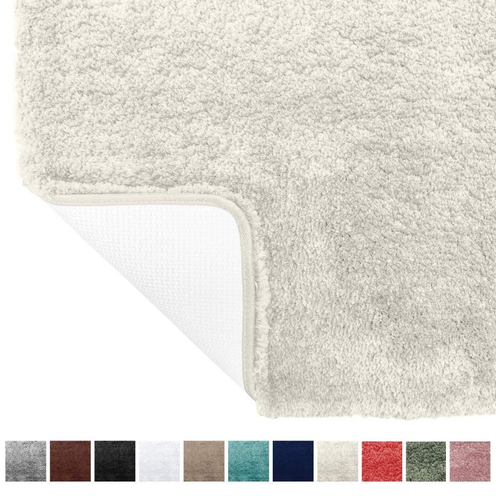 Gorilla Grip Original Premium Luxury Bath Rug, 24x17 Inch, Incredibly Soft, Thick, Absorbent Bathroom Mat Rugs, Machine Wash and Dry, Plush Carpet Mats for Bath Room, Shower, Hot Tub, Ivory Cream