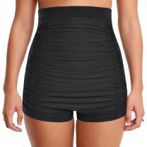 coastal rose Women's Swimsuit Bottom Super High Waisted Bikini Bottom Ruched Tummy Control Swim Shorts