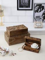 Artesia Floral Hand Carved Storage Wooden Box for Crafts Keepsake Trinket Box for Jewelry Decorative Vintage Treasure Box Antique Traditional Scluplture (Set of 3)