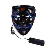Demi Sharky LED Light Up Scary Mask Novelty Halloween Costume Party Creepy Props, Safe EL Wire PVC DJs Mask
