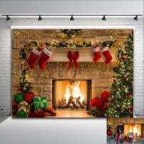 8x6ft Fireplace Holiday Photography Backdrop Photo Booths Studio Props Vinyl Christmas Stocking Tree Photo Background Winter Xmas Birthday Party Decorations Baby Shower Supplies
