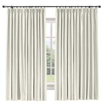 TWOPAGES 84 W x 96 L inch Pinch Pleat Blackout Curtain for Bedroom Cotton Blend Room Darkening Blackout Curtains, (1 Panel, Ivory White)