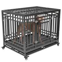 Nurxiovo Dog Crates for Large Dogs Heavy Duty Dog Kennel with Strong Metal Playpen Heavy Duty Sturdy Steel Crate with Removable Tray Four Wheels (42'' / 46'')