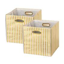 BAIST Cube Storage Bins,Nice Foldable Square Gold Fabric Decorative Cubby Storage Cubes Bins Baskets for Nursery Bedroom Shelf 2-Pack,White Gold Stripe