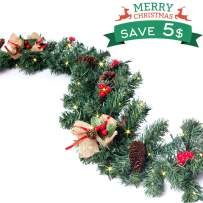 Christmas Garland with Light, Christmas Wreaths Garland Decorations with Red Berries, Pine Cones, Bows Ornaments for Indoor/Outdoor Xmas Decor. (157 '' LED Lights & 70 '' Garland)