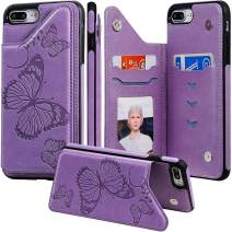 iphone 6S Case with Card Holder,iphone 6 Wallet Case for Women,Auker Girly Slim Thin Butterfly Embossed Folio Flip Leather Magnetic Closure Stand Wallet Purse Case with Credit Card Slots&Hidden Pocket