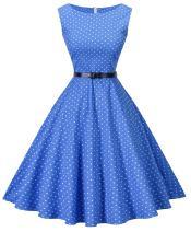 I2CRAZY Womens Boatneck Sleeveless Vintage 1950s Retro Rockabilly Prom Tea Dress with Belt  ,3X , 01-f01