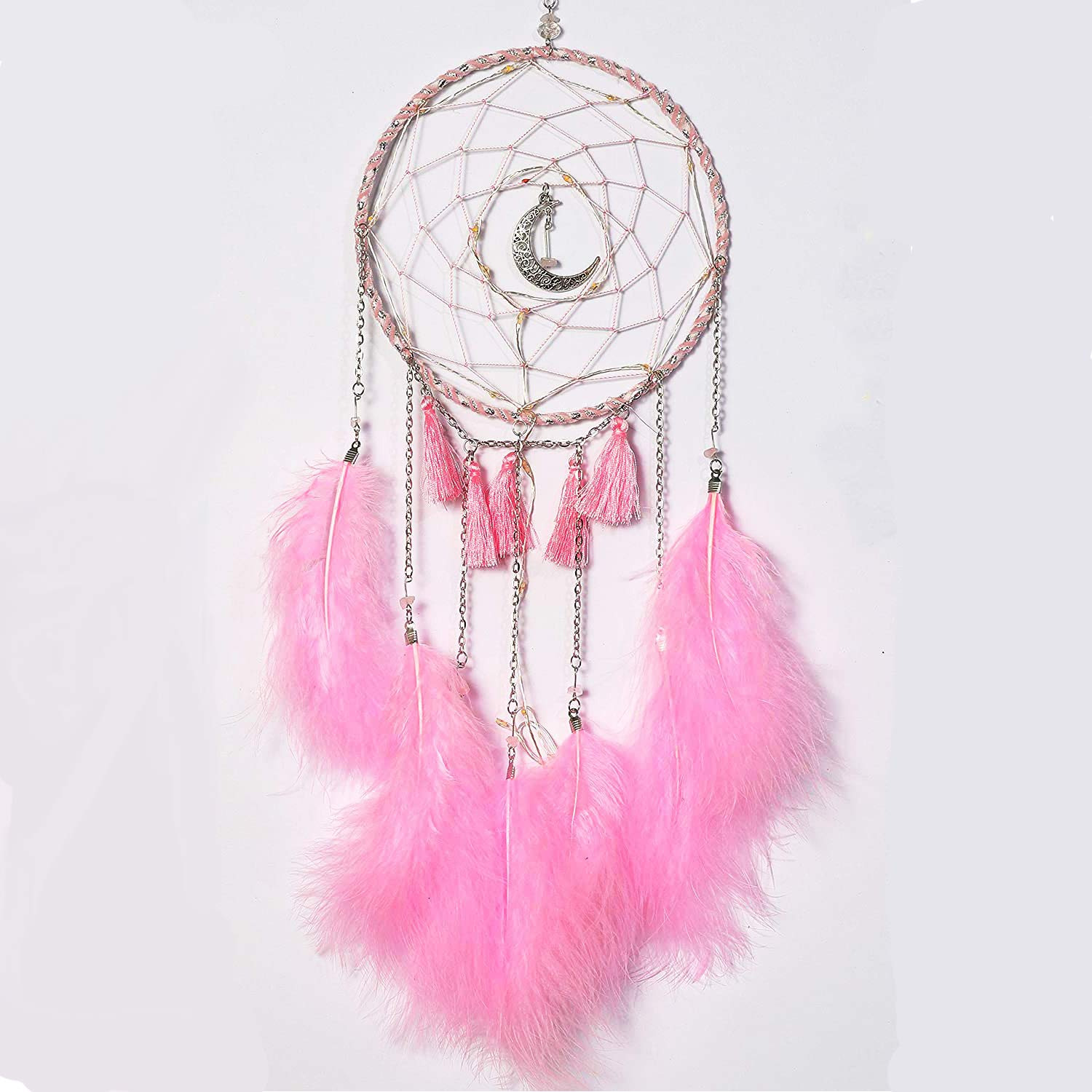 iceagle Dream Catcher Native American Boho Handmade Pink Feather Kids Dream Catchers for Bedroom Moon Craft Ornament Gifts Dream Catcher for Girls(Pink)