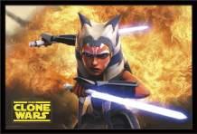 "Trends International Star Saga-Clone Wars, 22.375"" x 34"", Black Framed Version"