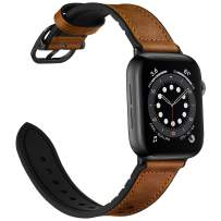 OUHENG Leather Bands Compatible with Apple Watch 40mm 38mm, Genuine Leather and Rubber Sweatproof Hybrid Band Strap Compatible for iWatch SE Series 6 5 4 3 2 1, Brown Band with Black Adapter