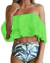 ZIKKER Women Two Piece Swimsuit Off Shoulder Ruffled Flounce Crop Bikini Top with Print Cut Out Bottoms