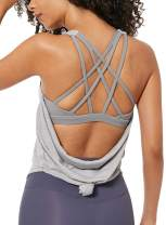 Ouber Women's Workout Tank Top Built in Bra Gym Shirts Strappy Back