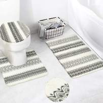 HAOCOO Boho Tribal Bath Rug 3 Piece Soft Velvet Bathroom Rugs Set,20 x 20 U-Shape Contoured Toilet Mat & 20 X 31 Rug & 1 Lid Cover, Non-Slip Machine-Washable Geometric Floor Rug for Tub Shower