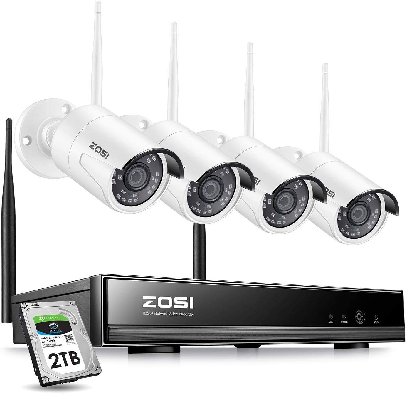 ZOSI 8CH 1080P Wireless Security Cameras System Outdoor with 2TB Hard Drive,H.265+ 8CH 1080P HD Network IP NVR and 4pcs 2.0MP 1080P Wireless Weatherproof IP Surveillance Cameras with 80ft Night Vision