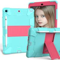 iPad 10.2 Case 2019, CASZONE 3 Layer Heavy Duty Rugged Shockproof Anti-Slip Silicone Protective Cover for New iPad 7th Generation 10.2 inch with Pencil Holder/Kickstand, for Kids/Students- Aqua+Rose